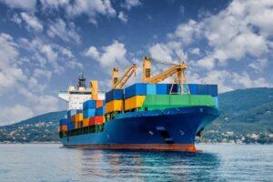 Asian Cargo Ship in Port